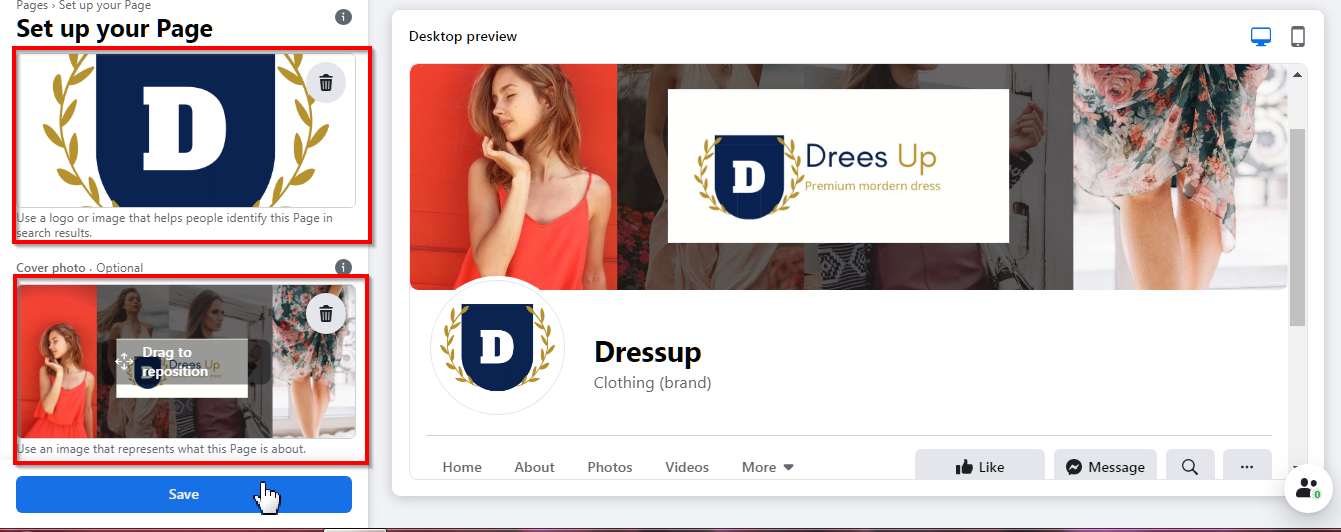Uploading Facebook page coverphoto and profile picture
