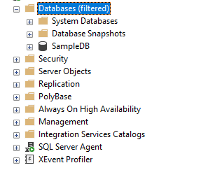 Database created from BACPAC file