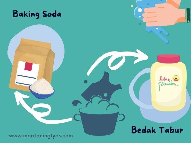 baking soda dan bedak tabur menghilangkan minyak di baju