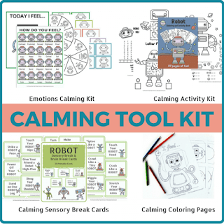 Robot themed calming toolkit for kids