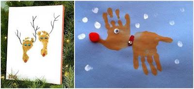 Pinturas de mãos e pés feitas por crianças para decorar no Natal