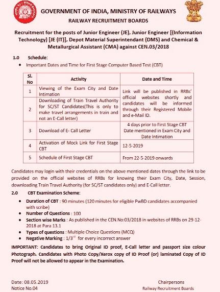 RRB Thiruvananthapuram Paramedical CBT Admit Card 2019 Exam Roll No
