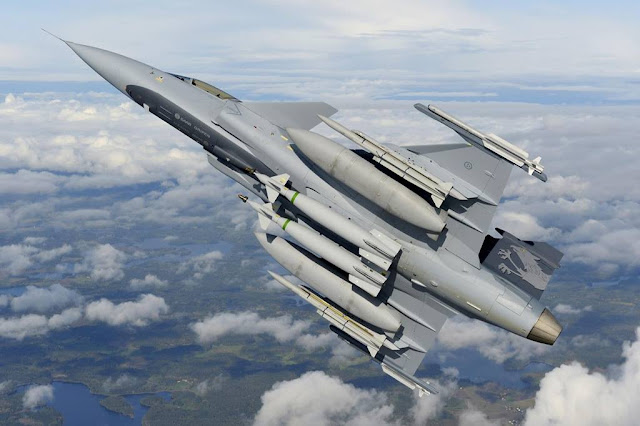 Swedish Gripen bomb forest fight fire