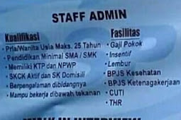 INFO LOKER BARU STAFF ADMIN, WALK IN INTERVIEW