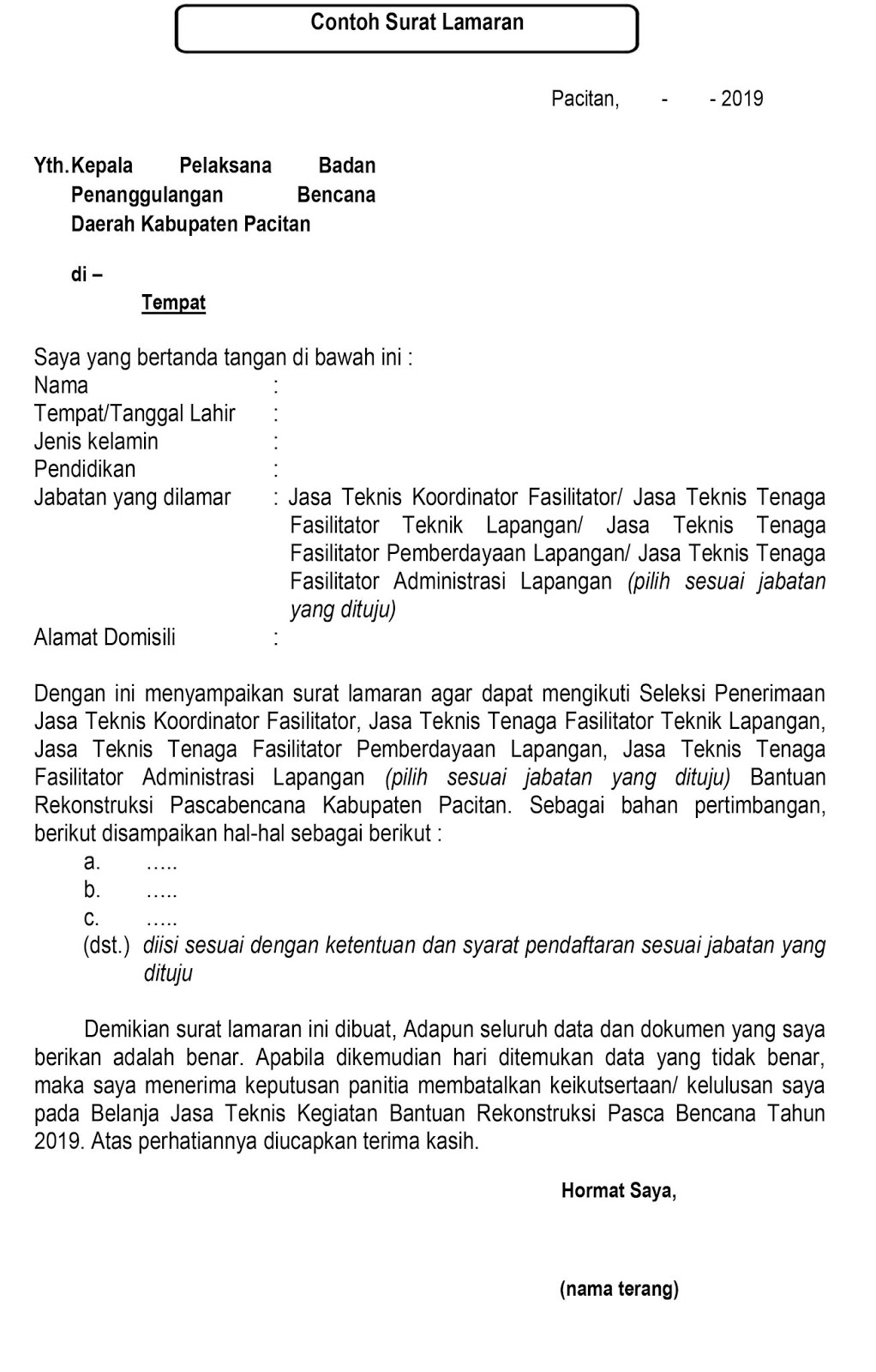 Lowongan Kerja Bpbd Kabupaten Pacitan Tahun 2019