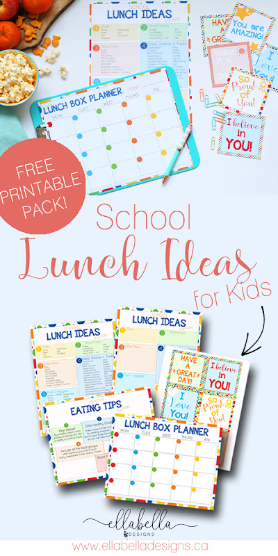 Looking for school lunch box ideas for kids? There is a great list of ideas plus a free printables pack! Pin for later and head over to the blog to get your printables today! #lunchboxideas #lunchideas #schoollunchideas #freeprintables