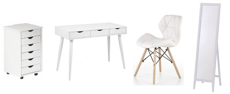 białe biurko szafka na kółkach lsutro stojące