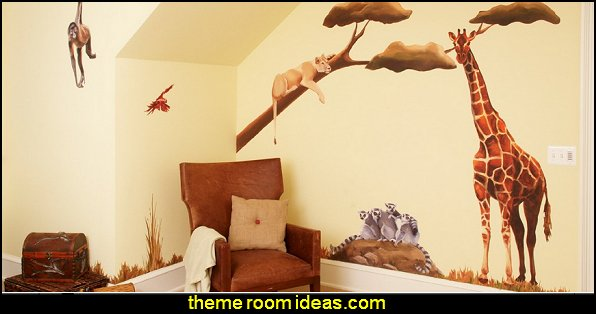 jungle theme bedrooms - safari jungle themed wild animals - jungle animals wild safari bedroom ideas - tropical jungle theme - jeep beds - wild animal murals - tropical lagoon murals - Lion king Disney Jungle vines wall decals - jungle animals wall decals