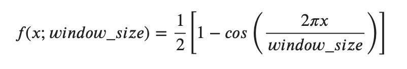 Screenshot showing the Hanning Window formula