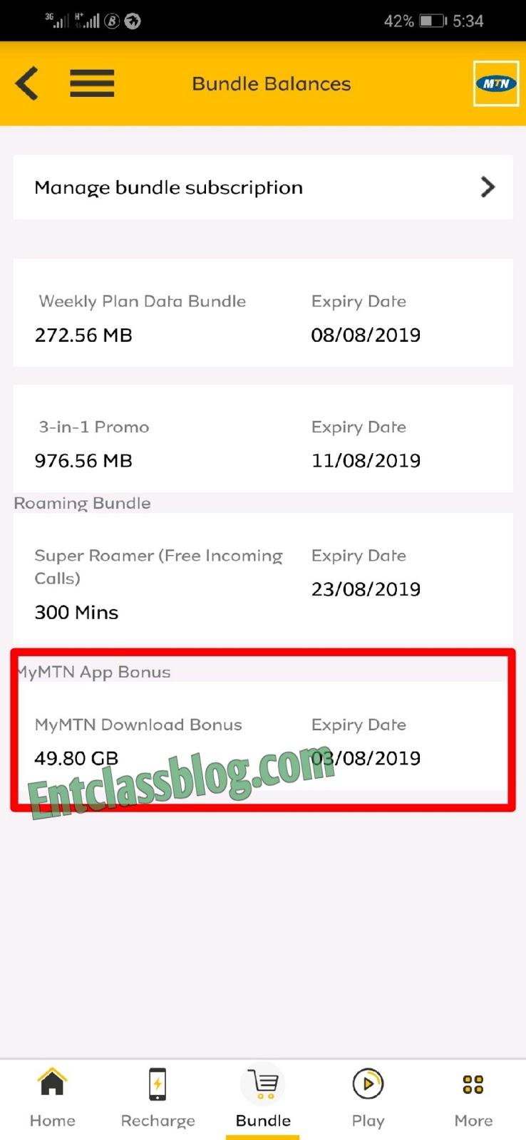 MTN 500MB Bonus Accumulation Cheat With MyMTN App