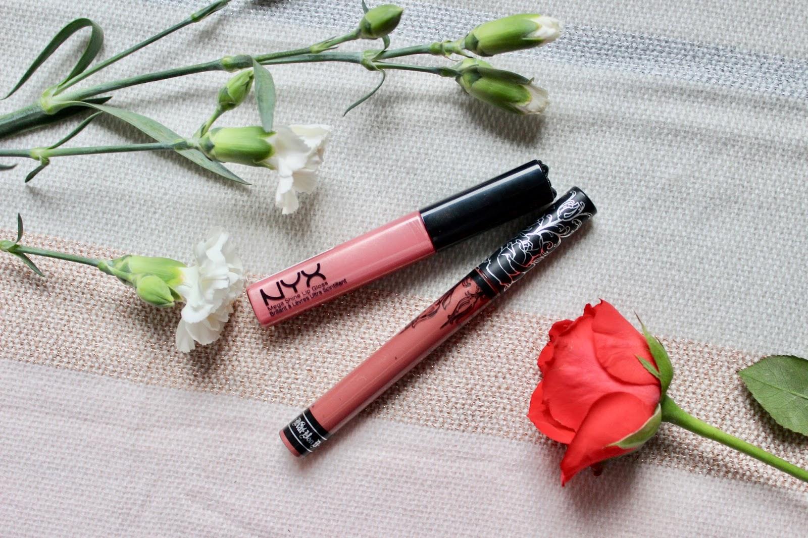 Kat von D everlasting liquid lipstick Lolita and NYX lipgloss