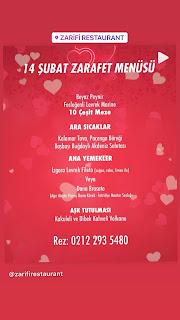 Zarifi  Restaurant Sevgililer Günü Programı Menüsü 2020