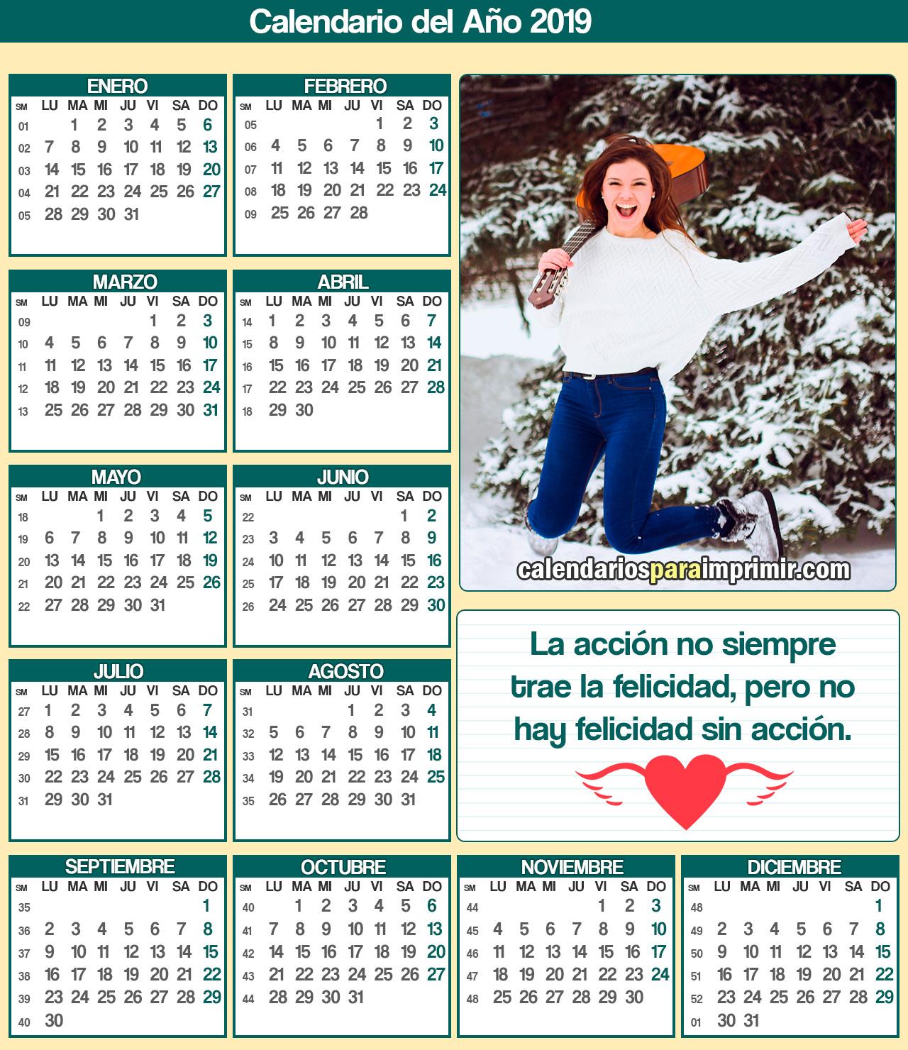 calendario 2019 con frases de felicidad