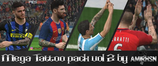 PES 2017 Mega Tattoo Pack V2 dari Amir.HSN7