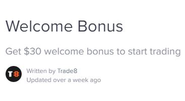 Trade8 $30 Crypto No Deposit Bonus