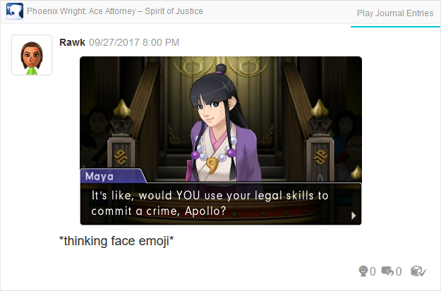 Phoenix Wright Ace Attorney Spirit of Justice Maya Fey Apollo commit crime