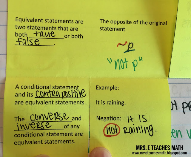 Mrs. E Teaches Math:  Conditional Statements Interactive Notebook Page for Geometry  |  http://mrseteachesmath.blogspot.com/