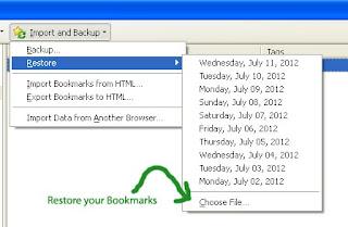 restore bookmarks