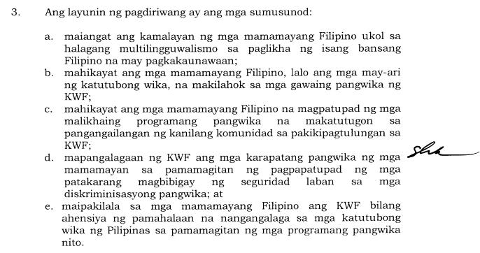 objectives of 'Buwan ng Wika' celebration 2019