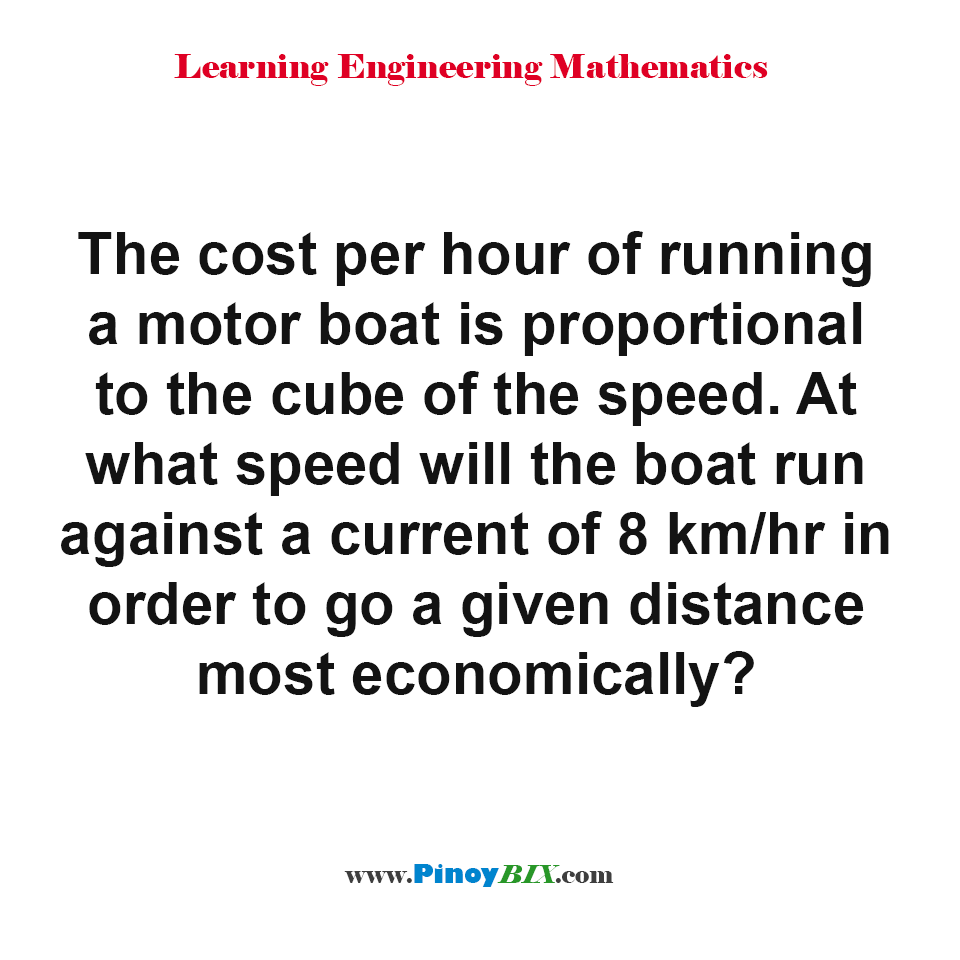 At what speed will the boat run against a current to go a given distance most economically?
