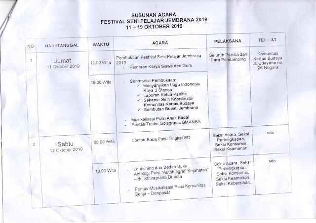 Jadwal Festival Seni Pelajar Jembrana 2019