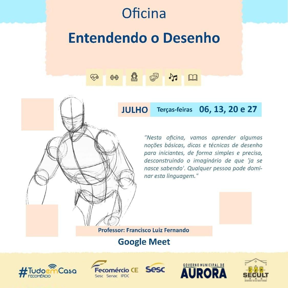 """Prefeitura de Aurora em parceria com o Sesc promove oficina on-line e gratuita """"Entendendo o Desenho"""""""