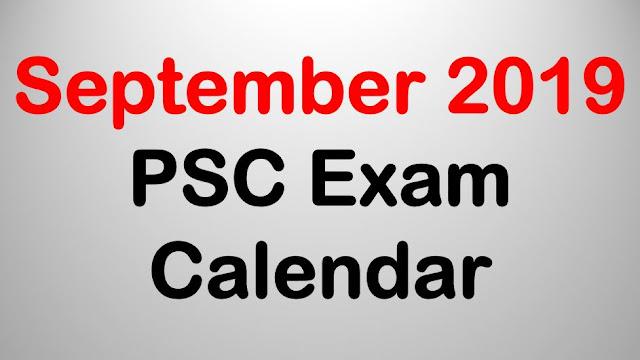 PSC Exam Calendar - September 2019