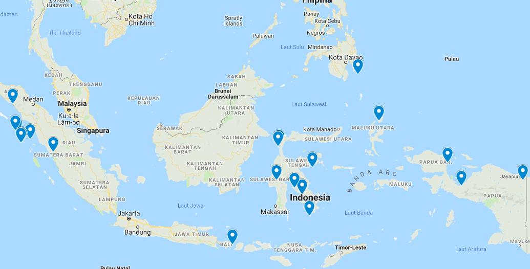 Gempa Bumi di Bulan Juni 2019 menurut data BMKG.  Peta Gempa Bumi Juni 2019