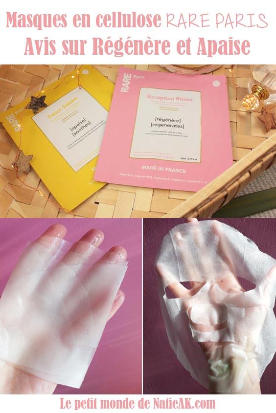 masques tissu Rare Paris Trésor solaire et Exception rosée