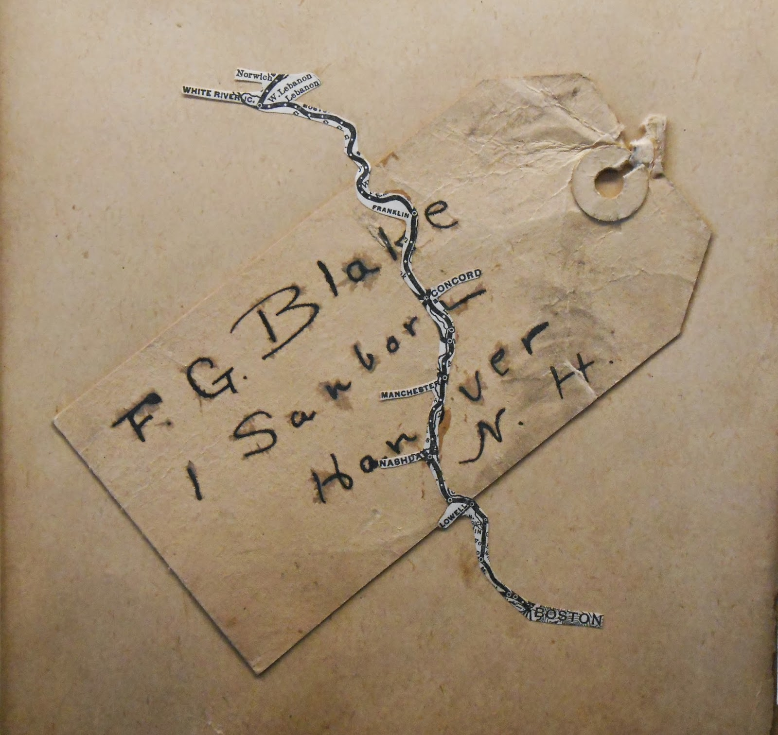 "A tag reading ""F.G. Blake 1 Sanborn Hanover N.H."""