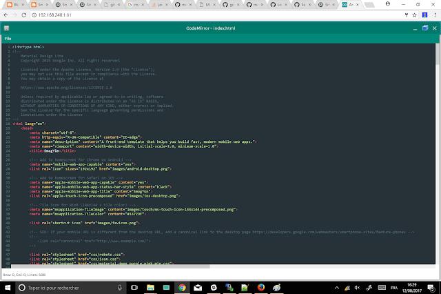 SmagYun Edition page d'accueil, Code-Mirror