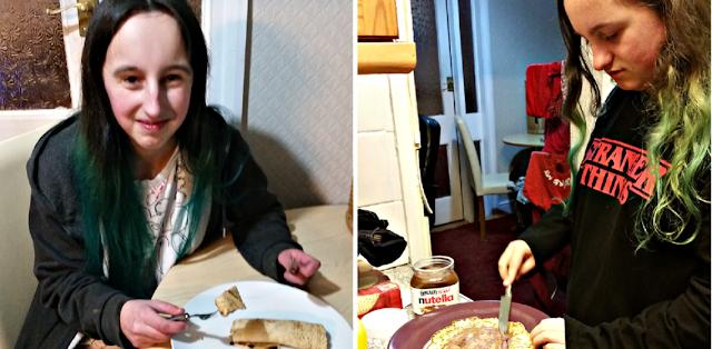 My girls enjoying their pancakes