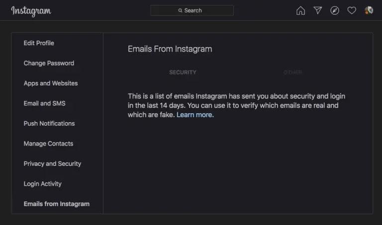 رسائل البريد الإلكتروني من Instagram حول التغييرات التي لم تقم بها