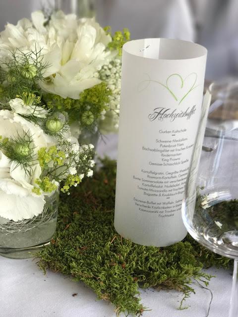 Menükarten Kartenmacherei, Hochzeit in Apfelgrün und Weiß im Riessersee Hotel Garmisch-Partenkirchen, Hochzeitshotel in Bayern, heiraten in den Bergen am See