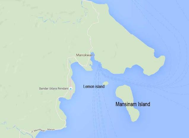 Manokwari is a city inside Dore bay with Mansinam and Lemon islands