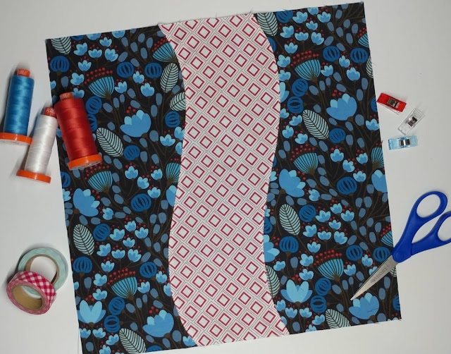 Scenic route quilt block with faux curved seams