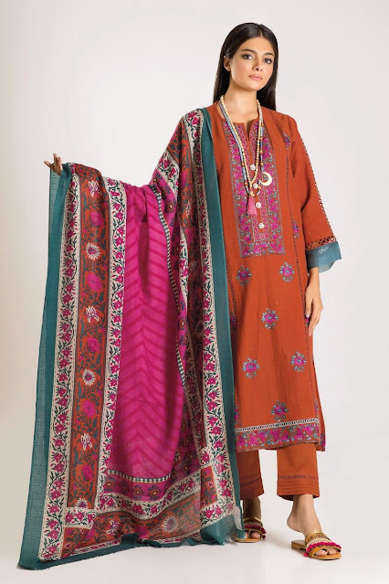khaadi winter collection embroidered orange colour 3 piece suit
