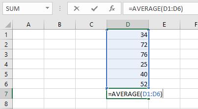 Contoh fungsi average untuk menghitung nilai rata-rata