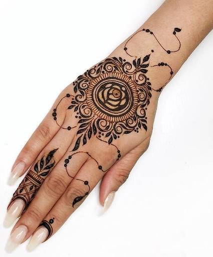 Top mehndi design for back hand