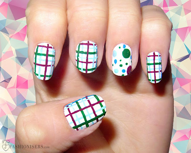 checkered nails- hot spring