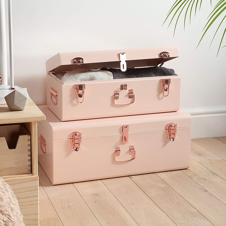 Beautify Blush Pink Vintage Style Steel Metal Storage Trunk