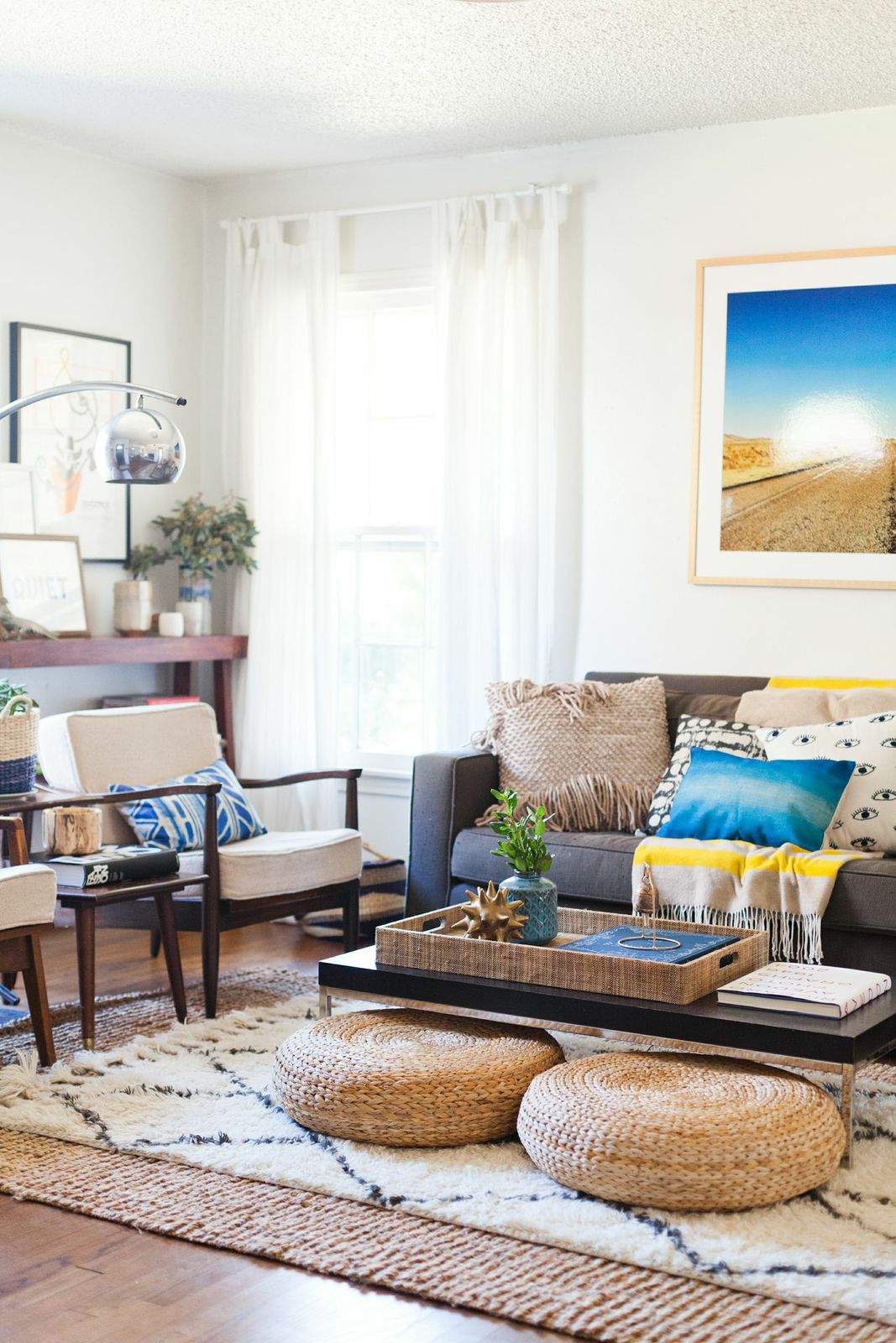 Boho Living Room with Layered Rugs