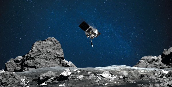 An artist's concept of NASA's OSIRIS-REx spacecraft about to collect a soil sample from the surface of asteroid Bennu.
