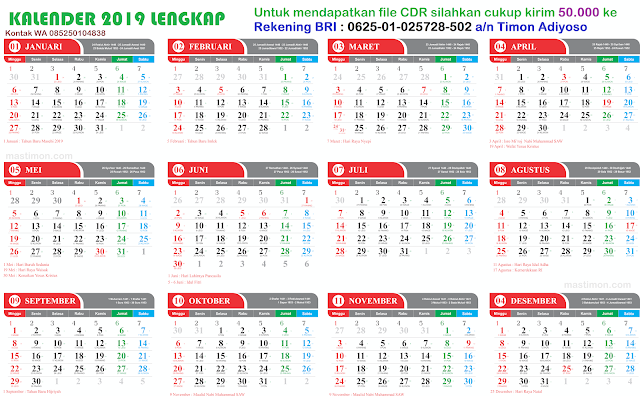 Download Kalender 2019 Arab