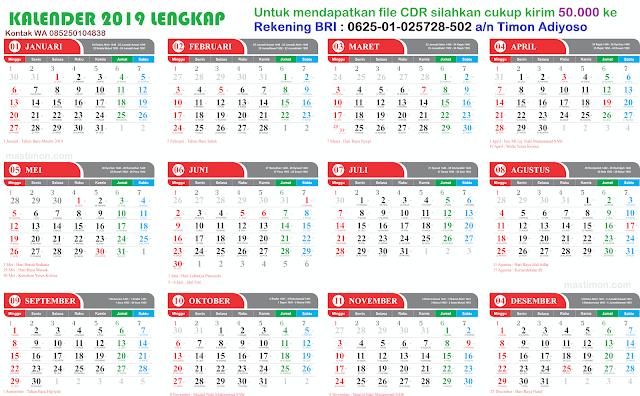 Jual template Kalender 2019 lengkap Hijriyah dan Jawa