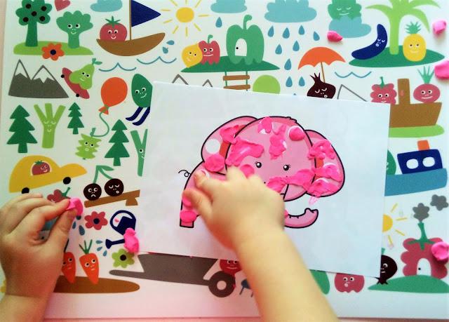 zabawy plasteliną dla dzieci, karty pracy do wyklejania plasteliną, kontury do uzupełnienia plasteliną i patch game