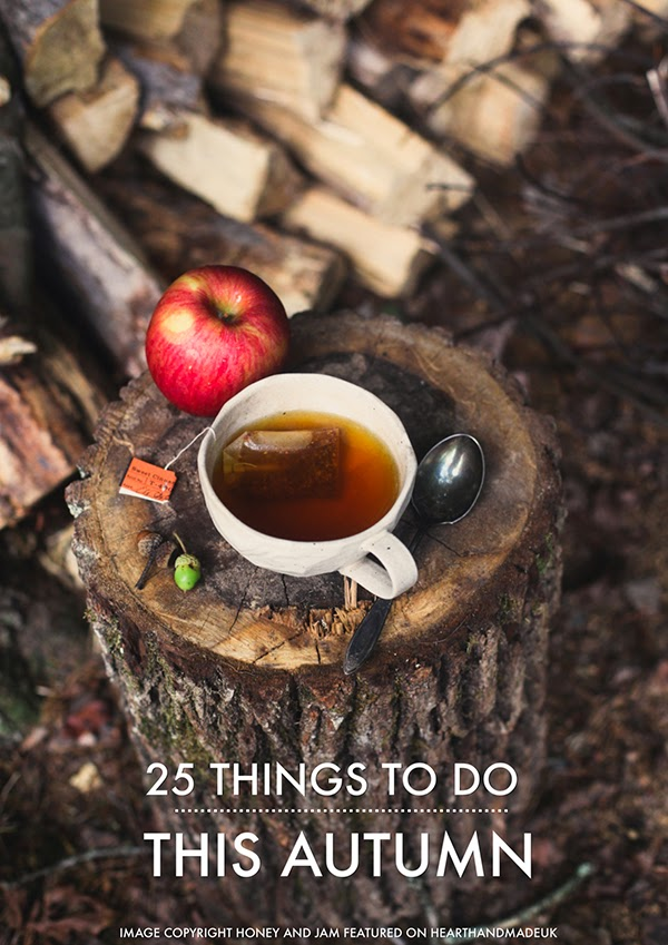 Enjoy a cup of tea outdoors this autumn - Image Honey and Jam featured @hearthandmadeuk Hello October! Come on over and discover 25 things to do this October!! Make Crockpot Cider. This image is a fabulous example of all that is lovely about Fall/Autumn. I love that I live in a world where there are seasons! The red apples and cinnamon sticks are perfect scents for the season.