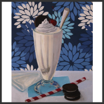 dessert, desserts, still life, oil painting, pattern, art, artwork, for sale, original, gift, milkshake,vanilla