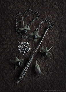 Broomstick Necklace and Pentacle Ring by Burial Ground / Mandragoreae by Victoria Francés