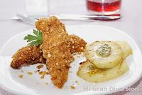 Pollo con crujiente de Kikos y Patatas con pesto